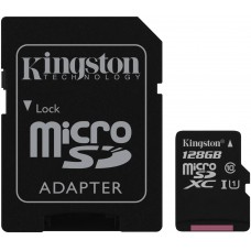 Kingston 128GB microSDHC Canvas Select Class10+SD adapter