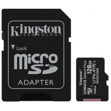 Kingston 128GB microSD Class10 A1 UHS-I Canvas Select Plus +SD adapter
